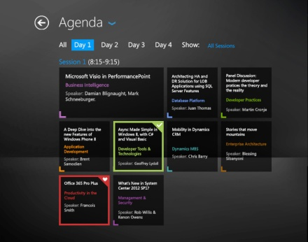 TechEd2013 Application Agenda Page